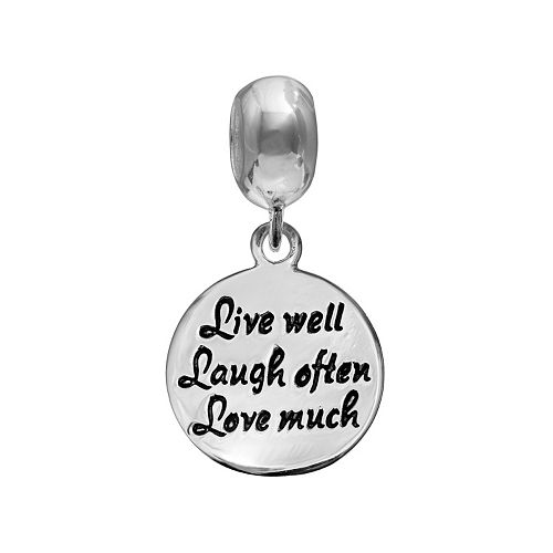 "Individuality Beads Sterling Silver ""Live Well Laugh Often Love Much"" Charm"