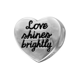 """Individuality Beads Sterling Silver """"Love Shines Brightly"""" Heart Bead"""