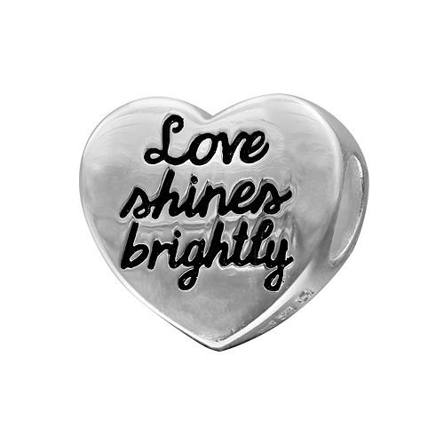 "Individuality Beads Sterling Silver ""Love Shines Brightly"" Heart Bead"