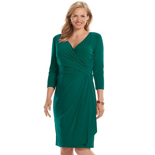 928c72e0a2 Plus Size Chaps Surplice Faux-Wrap Dress