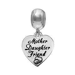 Individuality Beads Sterling Silver 'Mother Daughter Friend' Heart Charm