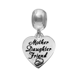 """Individuality Beads Sterling Silver """"Mother Daughter Friend"""" Heart Charm"""