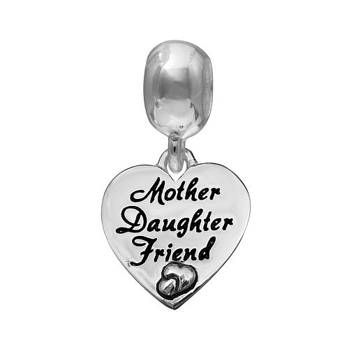 "Individuality Beads Sterling Silver ""Mother Daughter Friend"" Heart Charm"