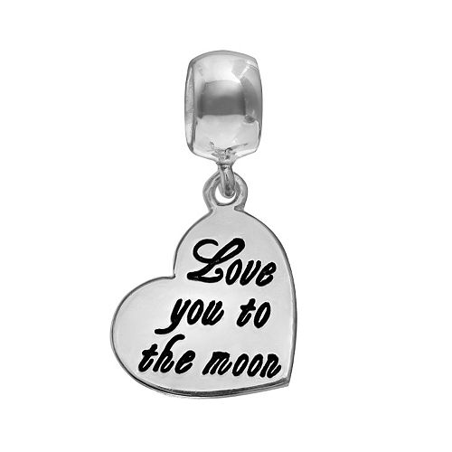 "Individuality Beads Sterling Silver ""Love You To The Moon"" Heart Charm"