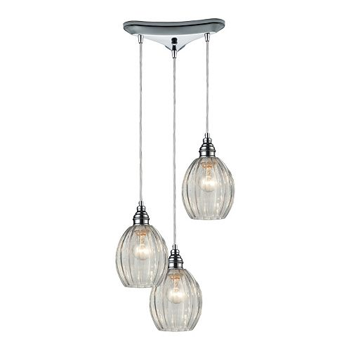 Elk Lighting Danica Clear Scalloped Glass 3-Light Pendant