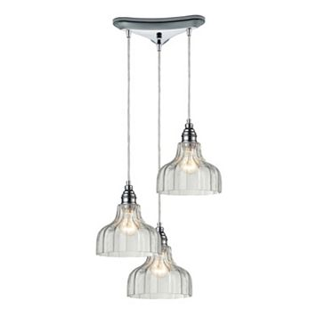 Elk Lighting Danica Scalloped Glass 3-Light Pendant