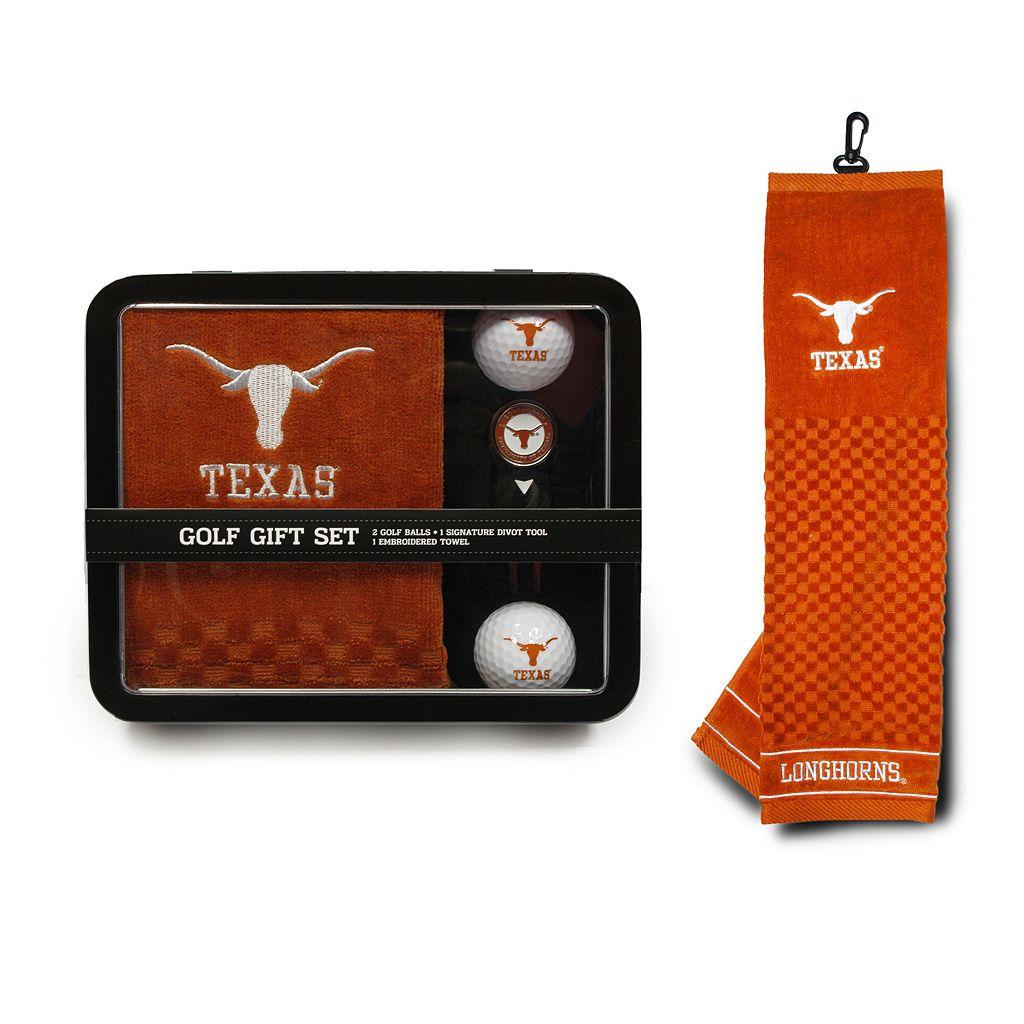Team Golf Texas Longhorns 4-Piece Towel, Golf Ball & Divot Tool Set