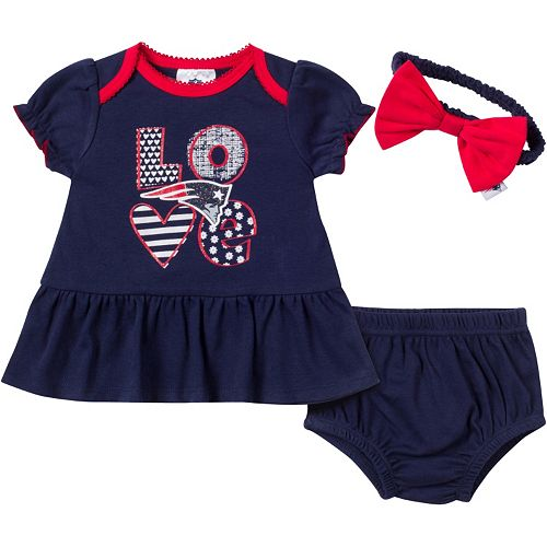 on sale a6839 060a6 New England Patriots 3-Piece Dress, Panty and Headband Set