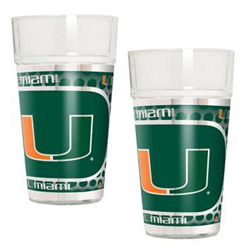 Miami Hurricanes 2-Piece Pint Glass Set