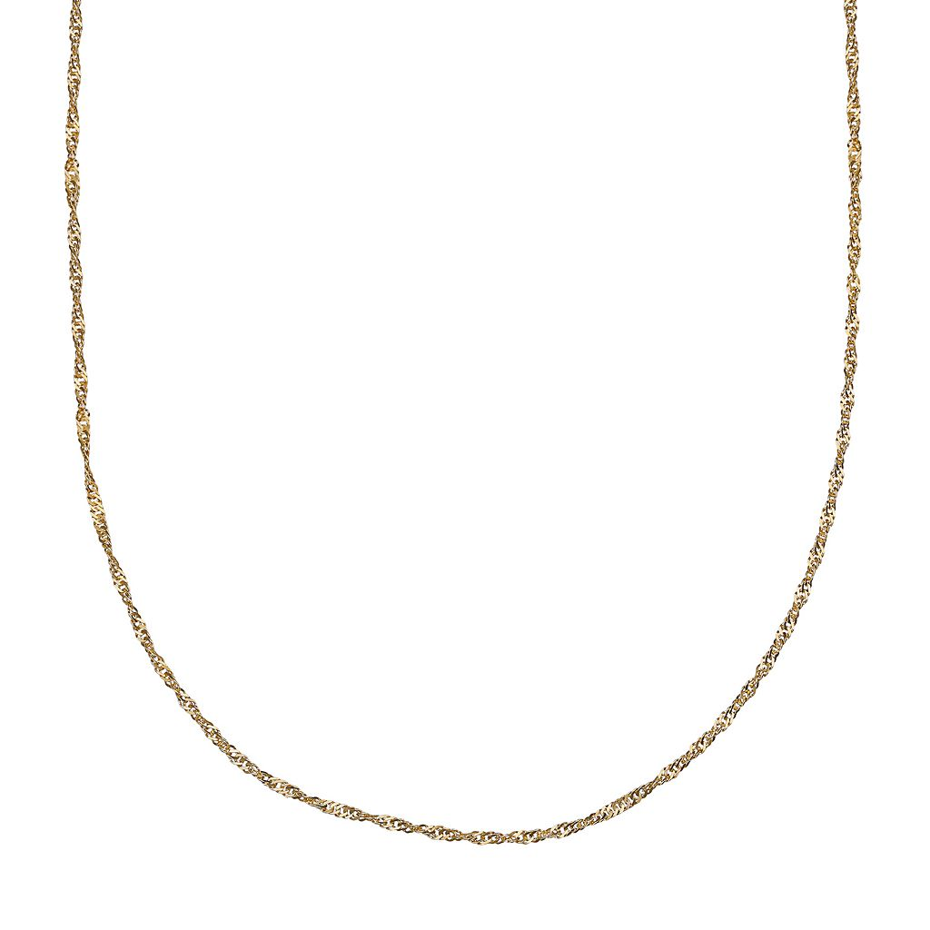 14k Gold Over Silver Singapore Chain Necklace - 24 in.