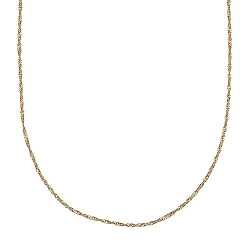 PRIMROSE 14k Gold Over Silver Singapore Chain Necklace - 24 in.