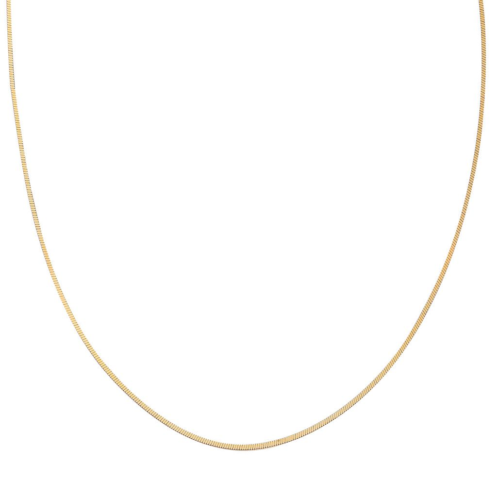 14k Gold Over Silver Square Snake Chain Necklace - 18 in.