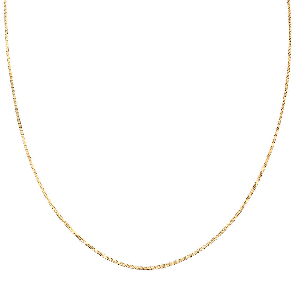 14k Gold Over Silver Square Snake Chain Necklace - 20 in.