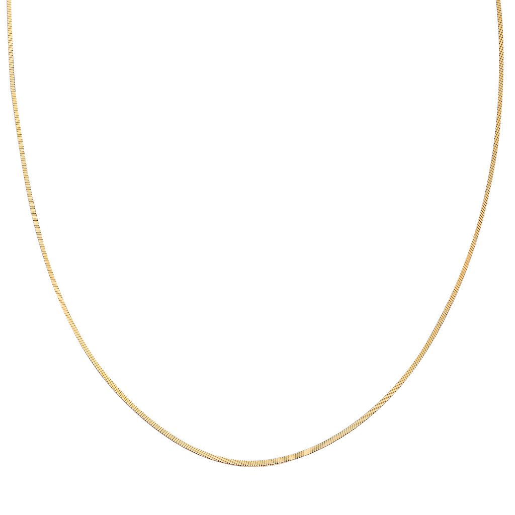 14k Gold Over Silver Square Snake Chain Necklace - 24 in.
