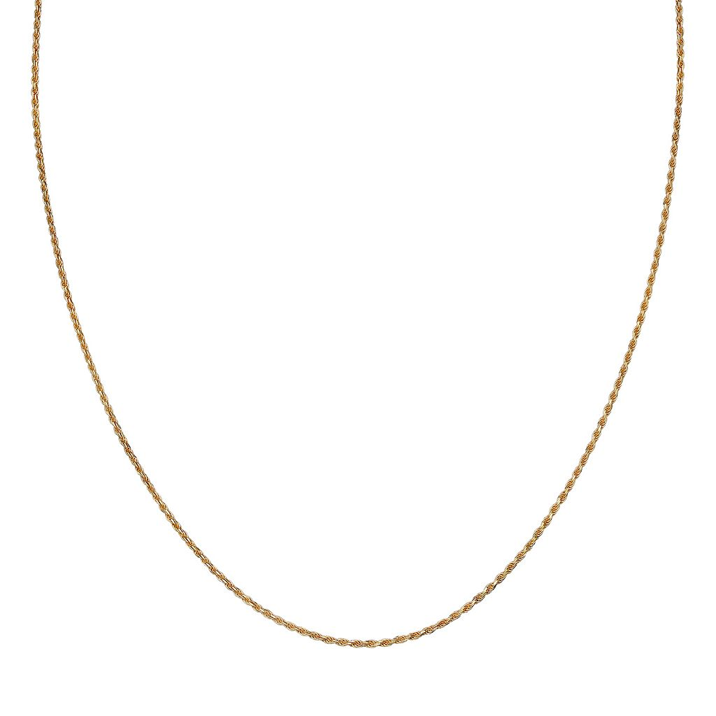 14k Gold Over Silver Rope Chain Necklace - 24 in.