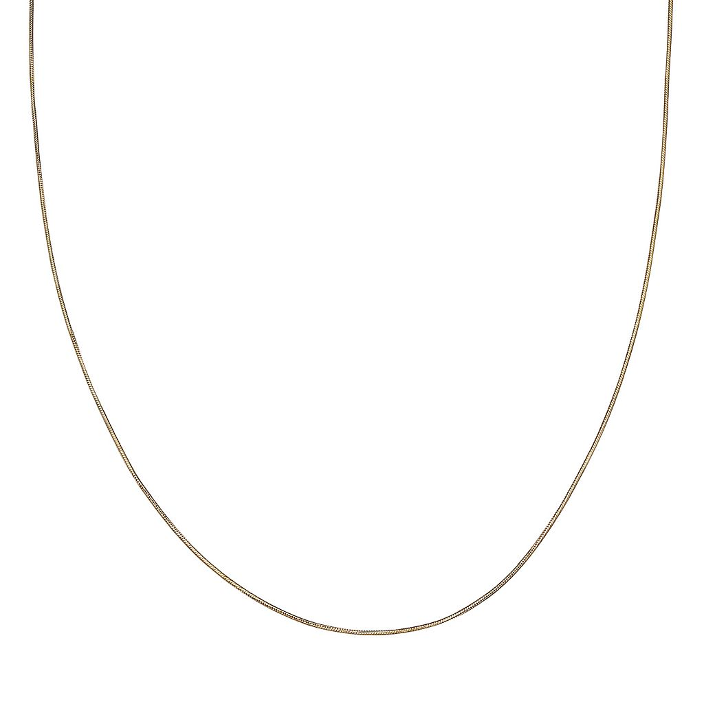 14k Gold Over Silver Snake Chain Necklace - 30 in.