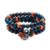 Chicago Bears Dyed Freshwater Cultured Pearl Team Logo Charm Stretch Bracelet Set