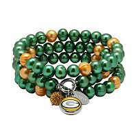Green Bay Packers Dyed Freshwater Cultured Pearl Team Logo Charm Stretch Bracelet Set