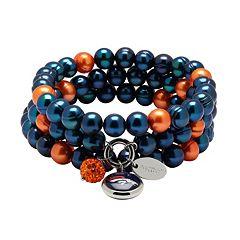 Denver Broncos Dyed Freshwater Cultured Pearl Team Logo Charm Stretch Bracelet Set