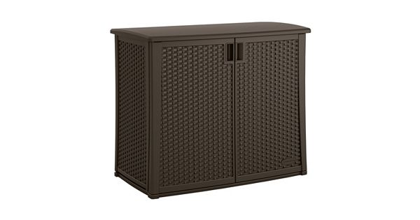 Suncast Elements Coffee Table With Storage Java: Suncast Elements Outdoor Wicker Cabinet