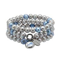 Detroit Lions Dyed Freshwater Cultured Pearl Team Logo Charm Stretch Bracelet Set