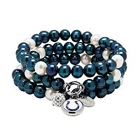 Indianapolis Colts Dyed Freshwater Cultured Pearl Team Logo Charm Stretch Bracelet Set