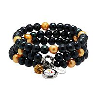 Pittsburgh Steelers Dyed Freshwater Cultured Pearl Team Logo Charm Stretch Bracelet Set