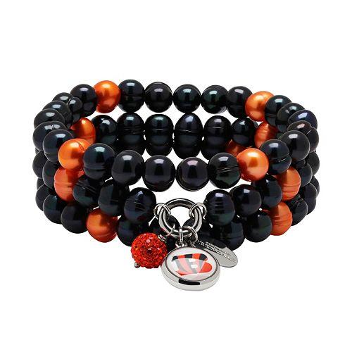 Cincinnati Bengals Dyed Freshwater Cultured Pearl Team Logo Charm Stretch Bracelet Set