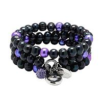 Baltimore Ravens Dyed Freshwater Cultured Pearl Team Logo Charm Stretch Bracelet Set