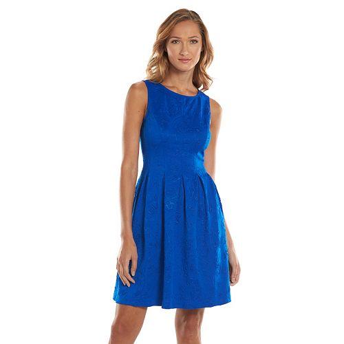 Jess Embossed Fit Flare Scuba Dress