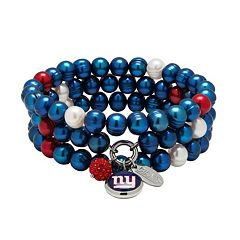 New York Giants Dyed Freshwater Cultured Pearl Team Logo Charm Stretch Bracelet Set