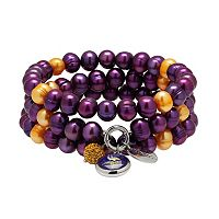 Minnesota Vikings Dyed Freshwater Cultured Pearl Team Logo Charm Stretch Bracelet Set