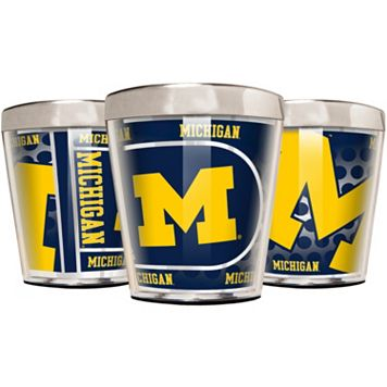 Michigan Wolverines 3-Piece Stainless Steel & Acrylic Shot Glass Set