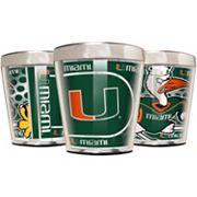 Miami Hurricanes 3 pc Stainless Steel & Acrylic Shot Glass Set