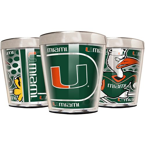 Miami Hurricanes 3-Piece Stainless Steel & Acrylic Shot Glass Set