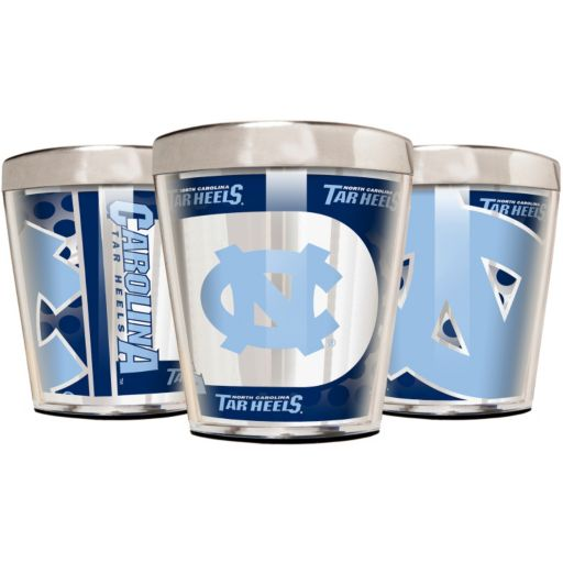 North Carolina Tar Heels 3-Piece Stainless Steel & Acrylic Shot Glass Set