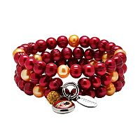 Washington Redskins Dyed Freshwater Cultured Pearl Team Logo Charm Stretch Bracelet Set
