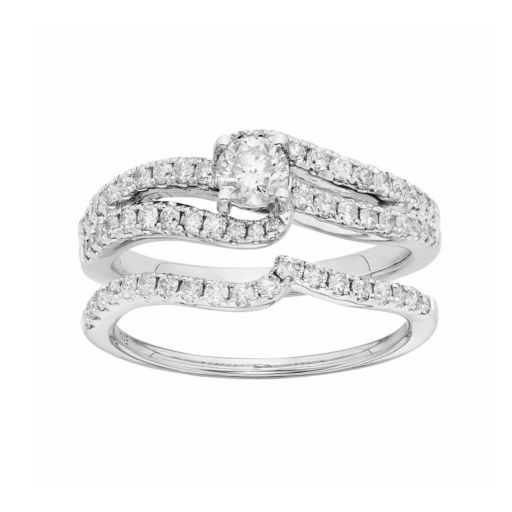 IGL Certified Diamond Swirl Engagement Ring Set in 14k White Gold (1 Carat T.W.)