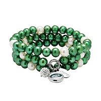 New York Jets Dyed Freshwater Cultured Pearl Team Logo Charm Stretch Bracelet Set