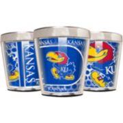 Kansas Jayhawks 3-Piece Stainless Steel & Acrylic Shot Glass Set