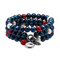 New England Patriots Dyed Freshwater Cultured Pearl Team Logo Charm Stretch Bracelet Set