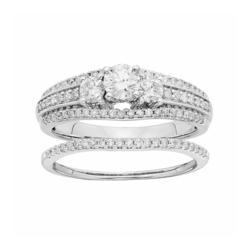 IGL Certified Diamond 3-Stone Engagement Ring Set in 14k White Gold (1 Carat T.W.)