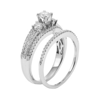 IGL Certified Diamond 3-Stone Engagement Ring Set in 14k White Gold (1 Carat T.W.)