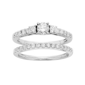 IGL Certified Diamond 3-Stone Tiered Engagement Ring Set in 14k White Gold (1 Carat T.W.)
