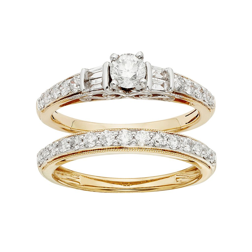 IGL Certified Diamond Engagement Ring Set in Two Tone 14k Gold (1 Carat T.W.)
