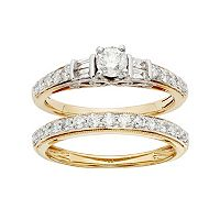 IGL Certified Diamond Engagement Ring Set in Two Tone 14k Gold (1 Carat T.W.)