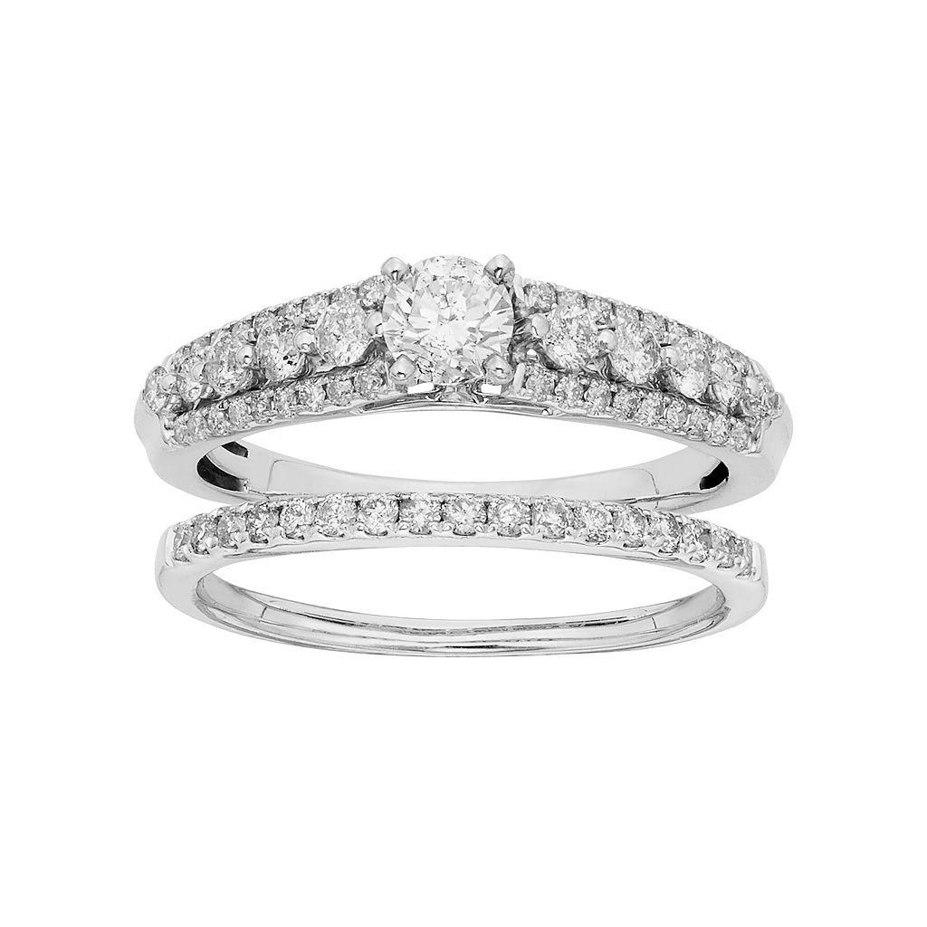 IGL Certified Diamond Engagement Ring Set in 14k White Gold (1 Carat T.W.)