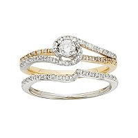 Diamond Swirl Engagement Ring Set in Two Tone 10k Gold (1/2 Carat T.W.)