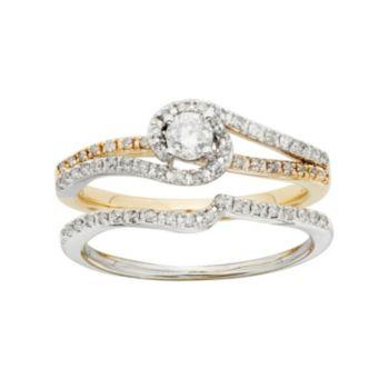 Diamond Swirl Engagement Ring Set in Two Tone 10k Gold (1/2 Carat T.W.)