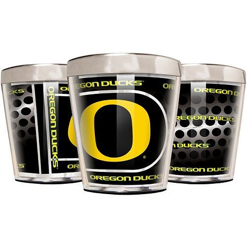 Oregon Ducks 3-Piece Stainless Steel & Acrylic Shot Glass Set